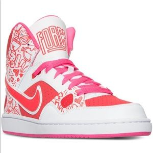 NIKE Son Of Force Mid Print Casual Sneakers. Pink